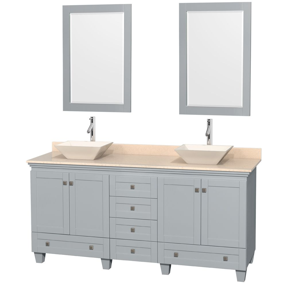 """Wyndham WCV800072DOYIVD2BM24 - Acclaim 72"""" Double Bathroom Vanity in Oyster Gray, Ivory Marble Countertop, Pyra Bone Porcelain Sinks & 24"""" Mirrors"""
