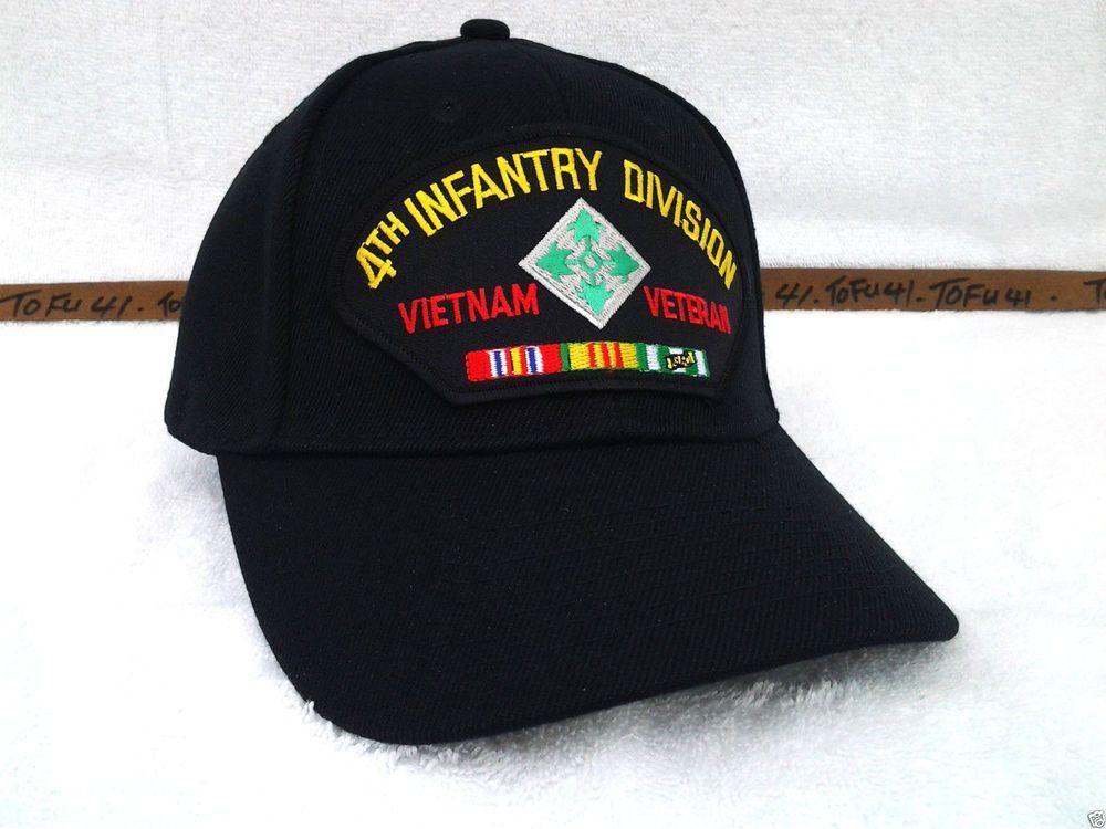 241db3f7f97 4TH INFANTRY DIVISION VIETNAM VETERAN BLACK Military Veteran US ARMY Hat 49  VV  BaseballCap