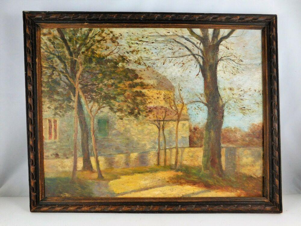 tableau vintage huile sur panneau
