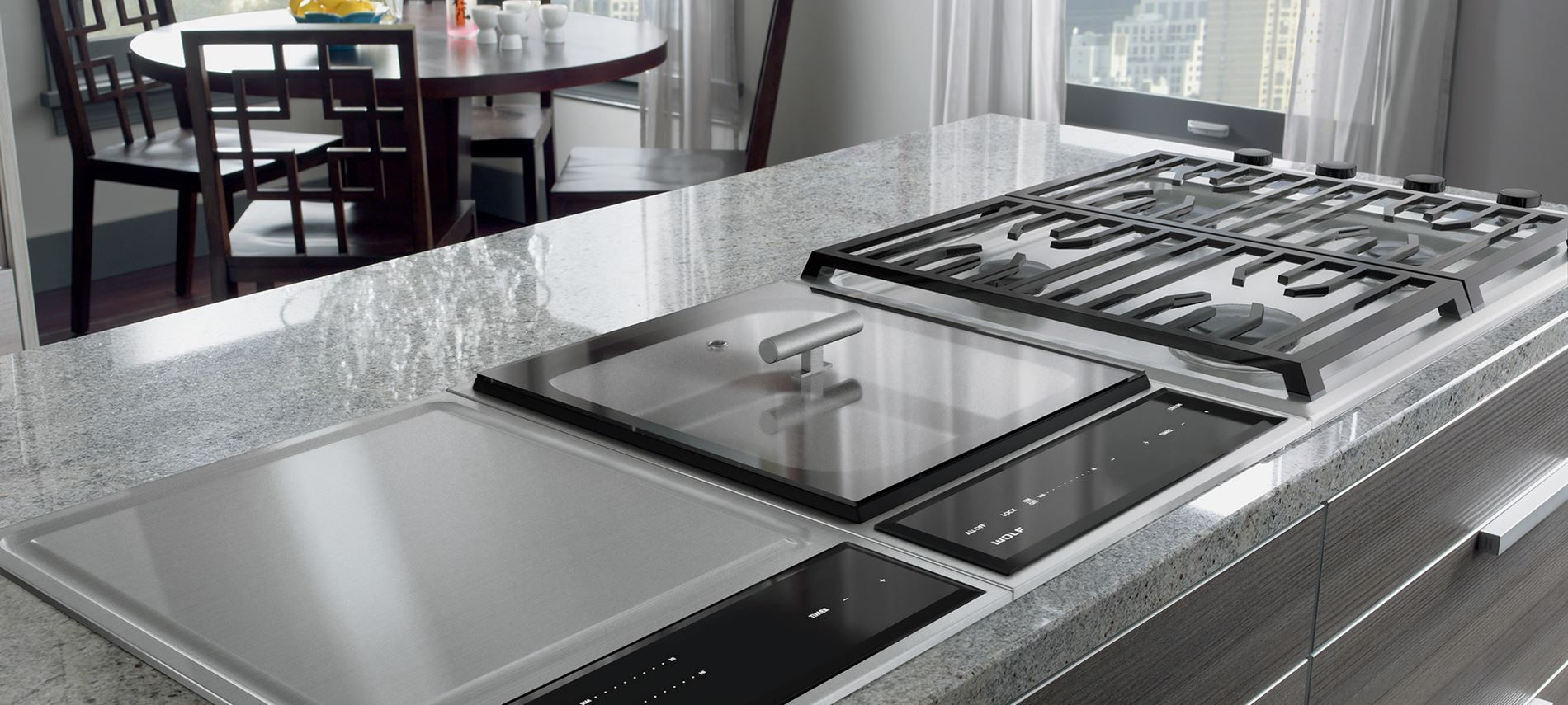 Wolf Specialty Cooktop modules. Gas, wok, induction