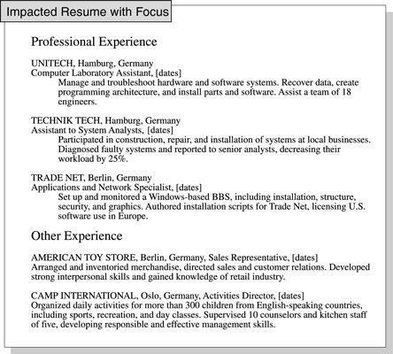 Resume Job Experience Separate Your Relevant Job Experience In A Resume From Other