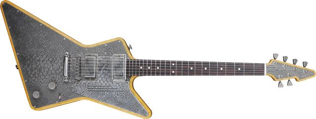 James Trussart's Steel X - designed in collaboration with James Hetfield! Done up in Antique Silver Snakeskin.
