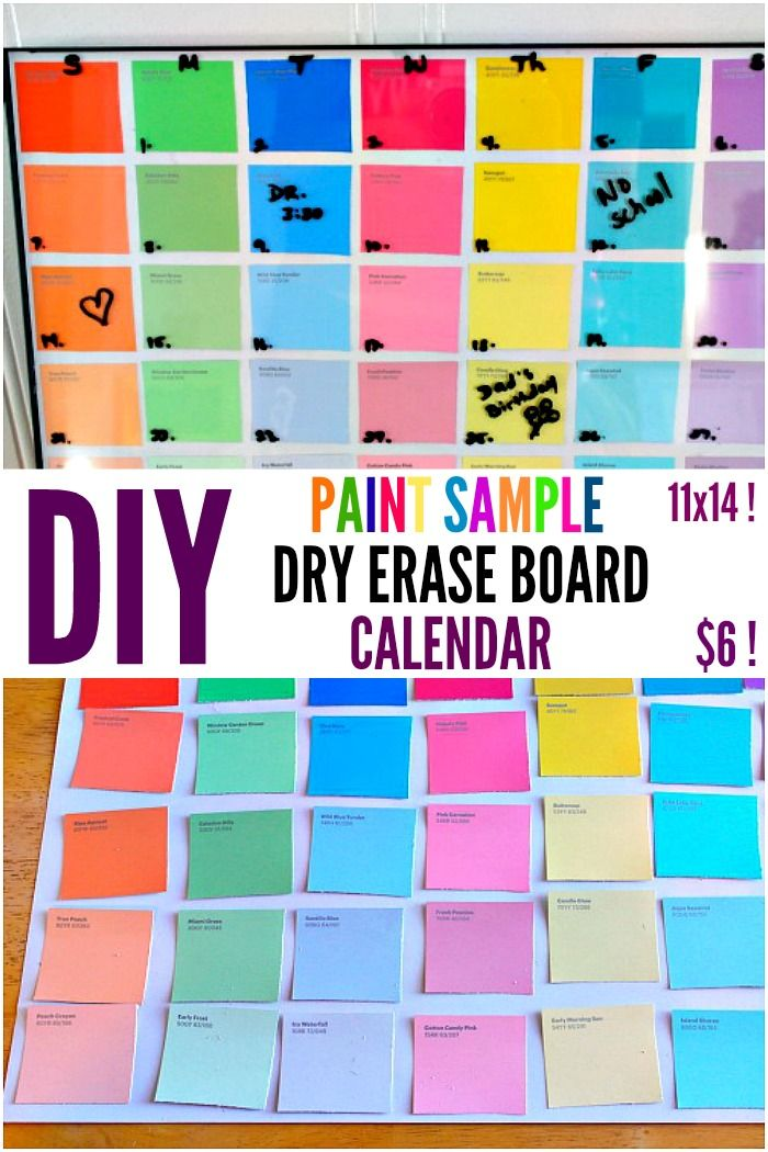 Diy Paint Sample Dry Erase Calendar One Crazy House