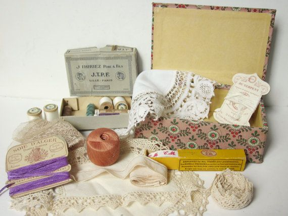 Vintage french sewing box  Ribbon crochet lace by 5LittleCups