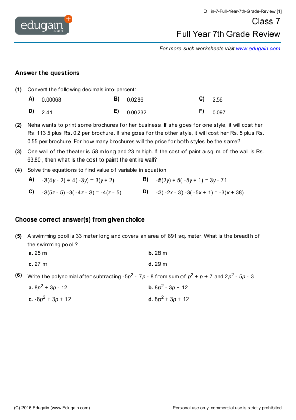 Grade 7 Math Worksheets Math Worksheet Math Worksheets 7th Grade Math Worksheets
