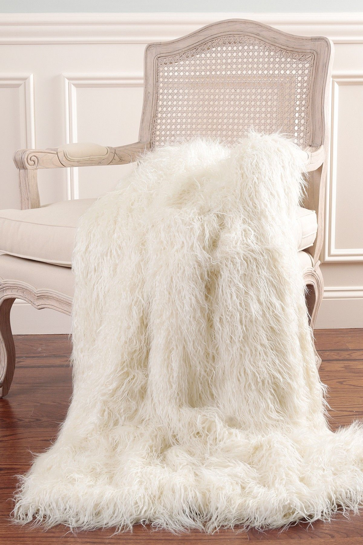 Mongolian Lamb Faux Fur Throw Blanket - Ivory by Best Home Fashion ... for Sheep Fur Blanket  103wja