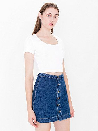 Button Front Denim A-Line Skirt | clothes | Pinterest | Denim mini ...