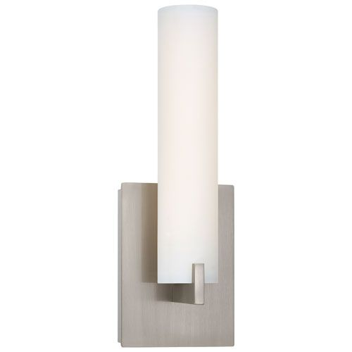 Bathroom Sconces On Sale george kovacs tube brushed nickel led wall sconce w/etched opal