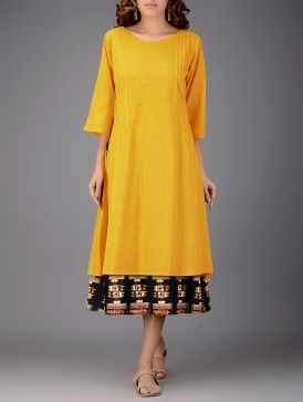 Mustard-Navy Blue Printed Boat Neck Pintuck Layered Cotton Dress
