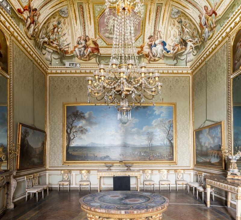 Royal Palace Of Caserta Italy The Winter Season Room In Apartments Has A Series Large Landscape Paintings Some Are By Jacob Phillip Hackert