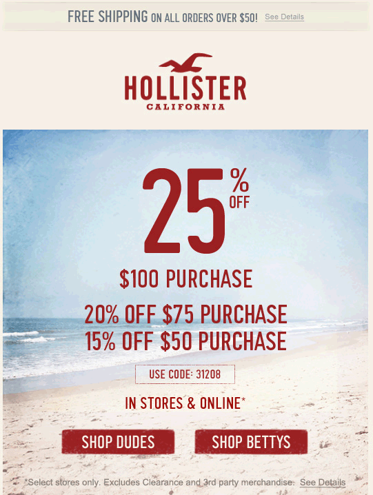 photograph relating to Hollister Printable Coupon named Pinned Might 16th: 15% off $50 and even further at #Hollister, or