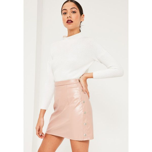 Missguided Popper Side A Line Faux Leather Mini Skirt ($40) ❤ liked on Polyvore featuring skirts, mini skirts, pink, short white skirt, pink skirt, vegan leather skirt, a-line skirt and short mini skirts