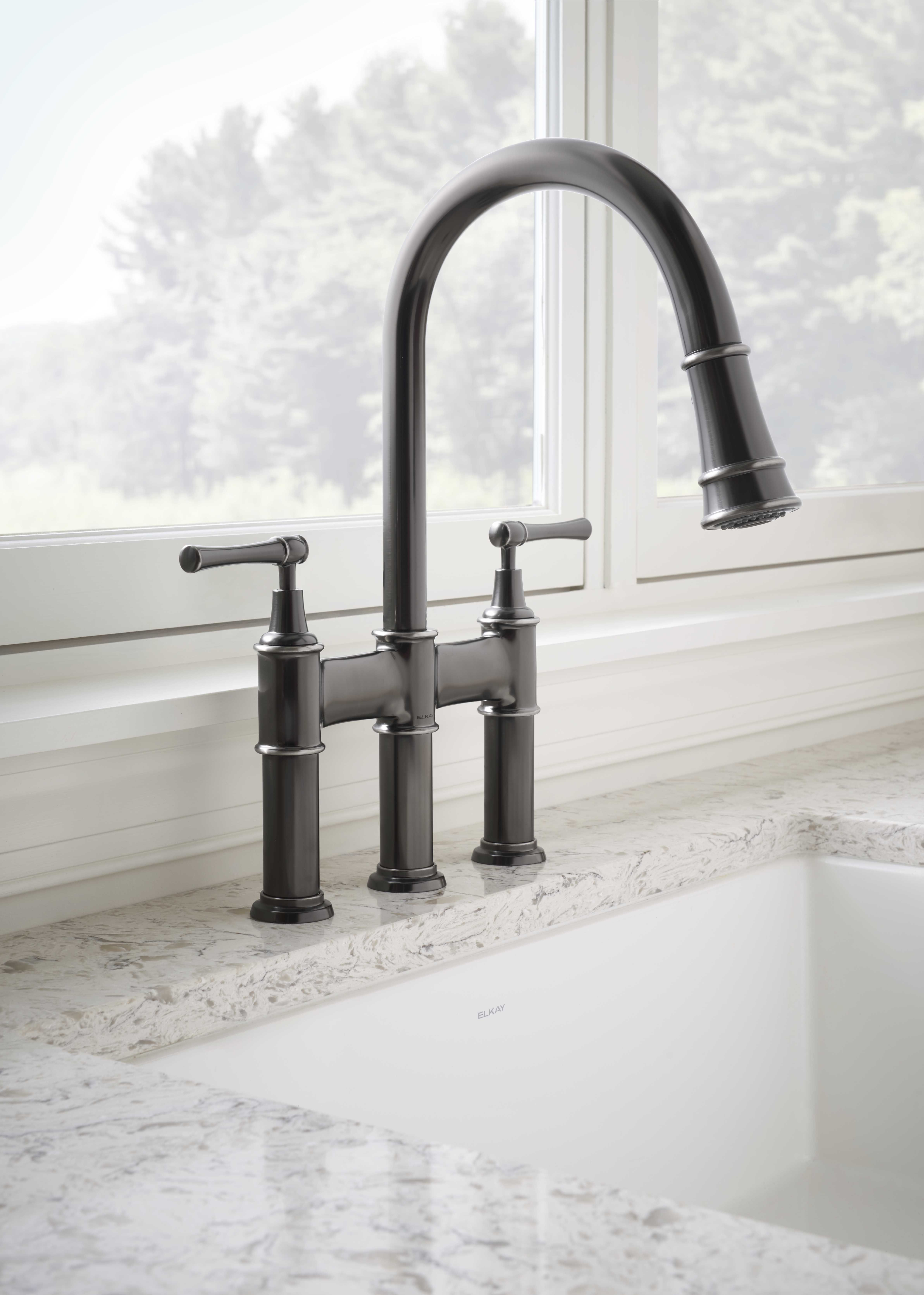 Elkay Explore Three Hole Bridge Faucet with Pull-down Spray and ...
