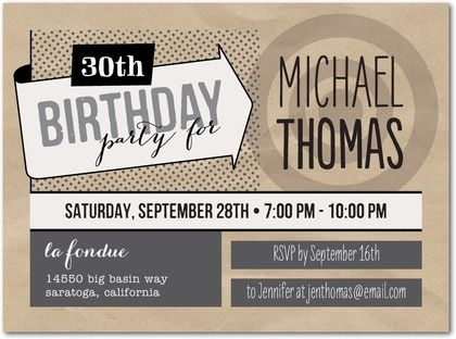 Cool Comic Adult Birthday Party Invitations in Charcoal or – Cool Party Invites