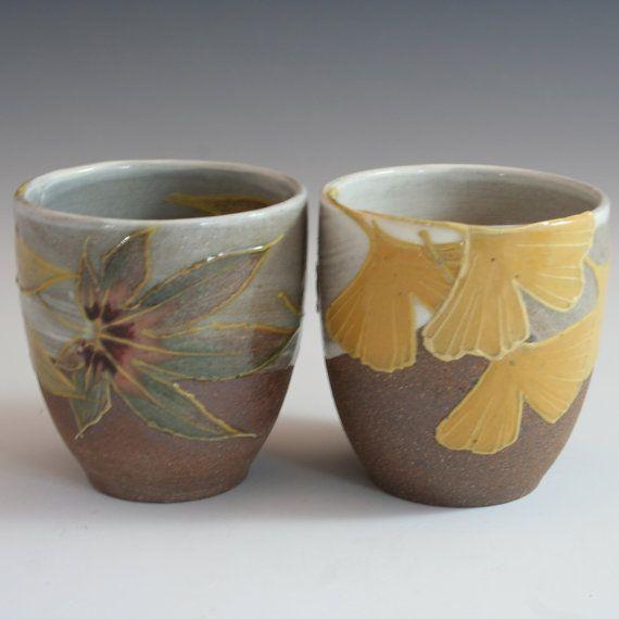 handmade stoneware yunomi   Autumn duo: maple and ginkgo in Japanese/ Craftsman style