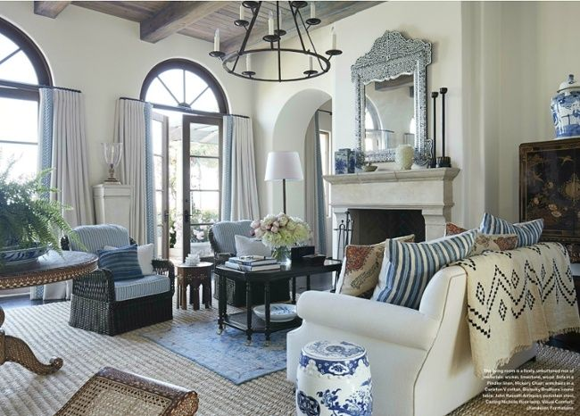 A Blue Oushak Rug Layered On An Abaca Rug In A Living Room Designed By Mark D Luxury Living Room Decor Luxury Living Room Living Room Decor Furniture