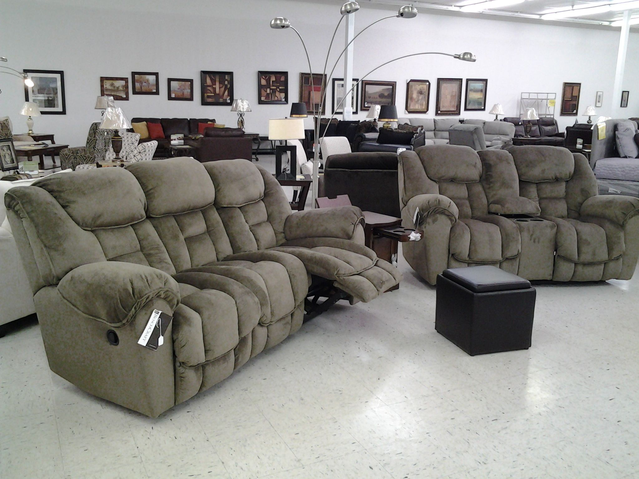 Plush Microfiber Taupe Reclining Sofa With Glider Loveseat Console