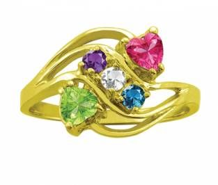 Jared FamilyMothers Ring Heart Birthstones Design in 10K14K