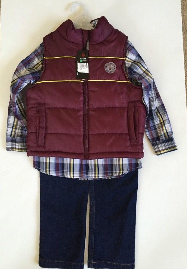 Swiss Cross Toddler Boys 3pc Vest Shirt Denim Pant Set Size 4 Msrp72$ #SwissCross #Everyday