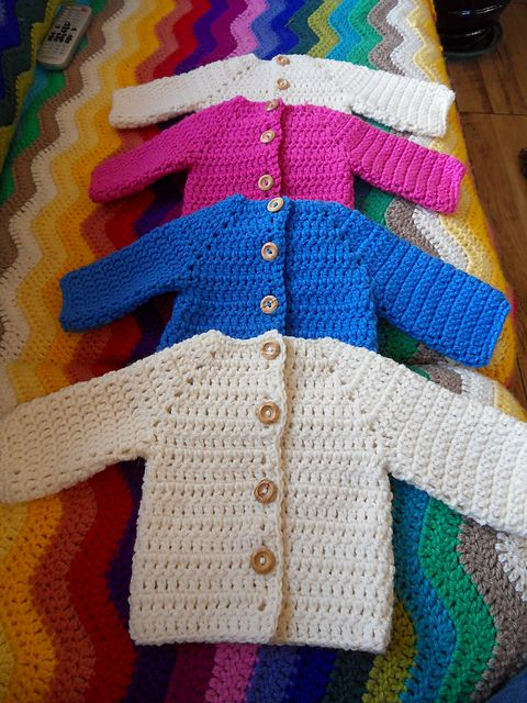 9c5b44bc0585 Crocheted Baby Sweater pattern by Beth Koskie
