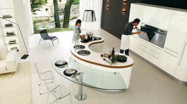 Îlot forme originale design Îlot central de cuisine design - plan de cuisine moderne avec ilot central