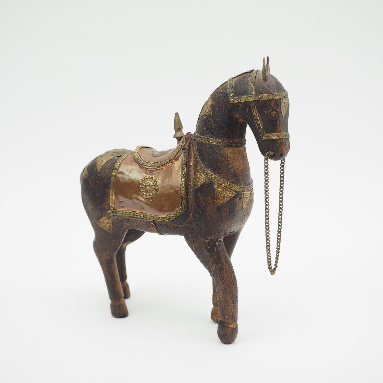 Wooden Horse Brass Copper Bone Inlays Shelf Decor Hand