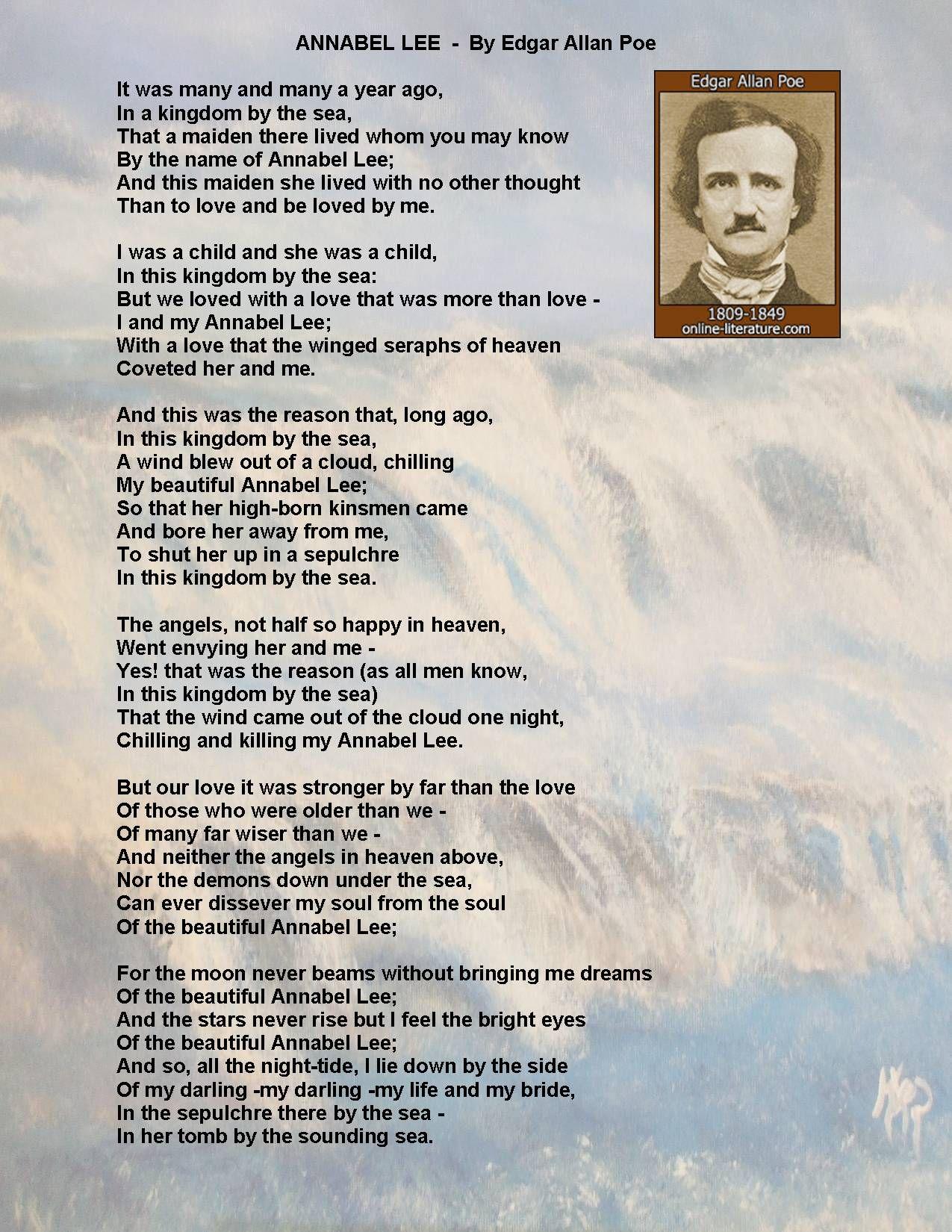My Favorite Poem Annabel Lee By Edgar Allan Poe Poems Beautiful Edgar Allan Poe Poems