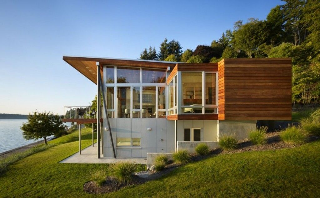 Architecture front like wooden house design with big for Large front windows house
