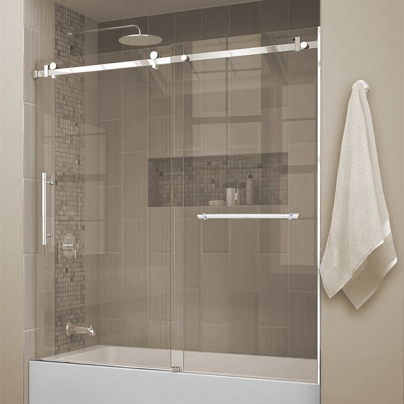 Jade Bath Quartz 60 X 66 Single Sliding Frameless Tub Door Wayfair