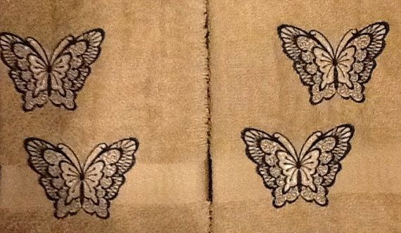 Embroidered butterfly towels gifts for mom. 2 hand towels for kitchen or bath. Free name. We will wrap and ship for you for free.