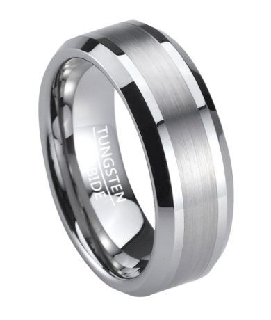 satin finish mens tungsten wedding band with polished edges 8mm - Tungsten Mens Wedding Rings
