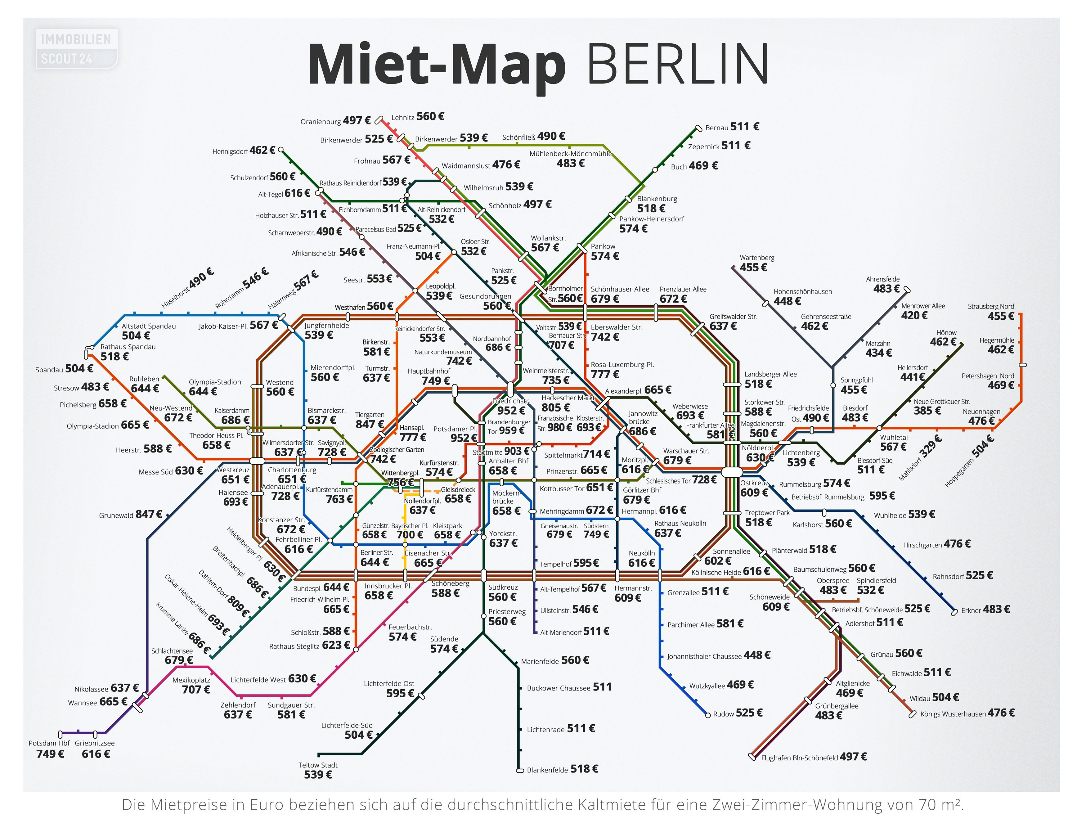This Map Tells People If They Re Being Ripped Off For Their Rent Berlin Map Transit Map