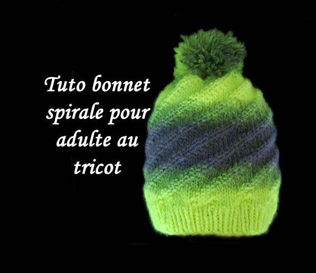 De Fil En Aiguille  TUTO BONNET SPIRALE AU TRICOT FACILE   Tricot ... 32065e17cbf