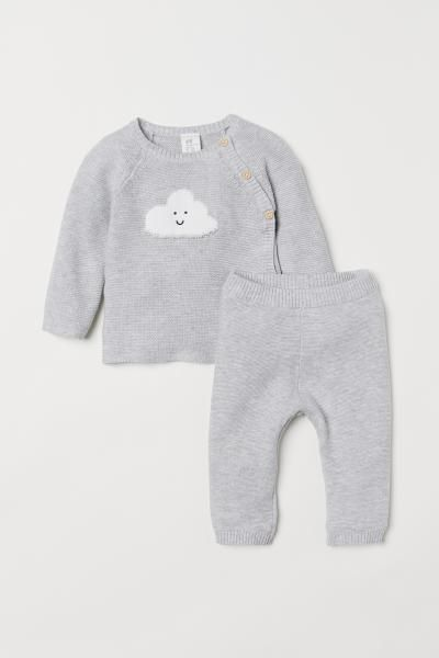 ff598f98ce7c8 Sweater and Pants - Light gray melange clouds - Kids