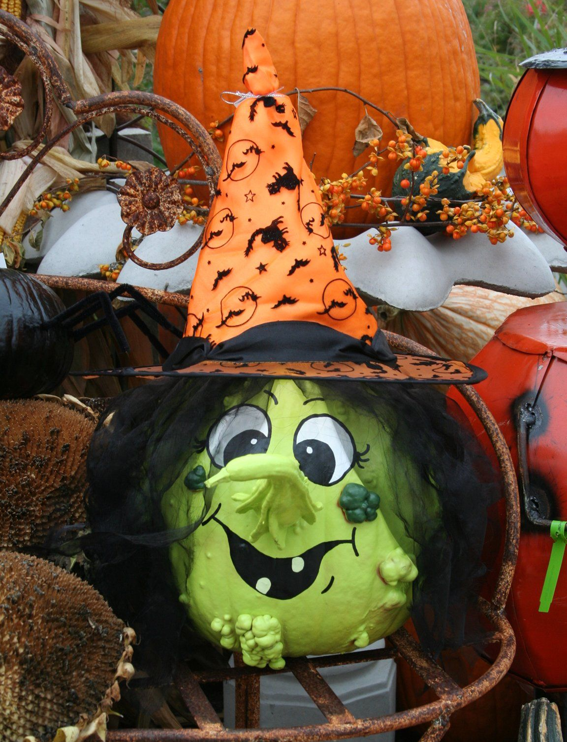 painted pumpkin and gourd to make a witch fall