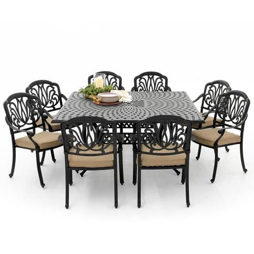 sunset bay 9 piece cast aluminum patio dining set with square
