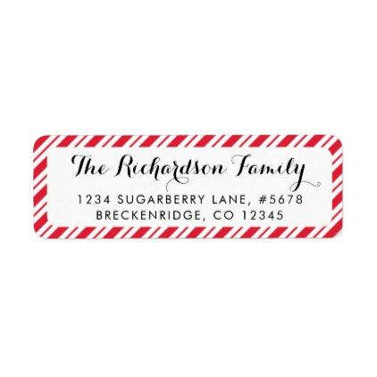 Peppermint Candy Cane Stripes Return Address Label Return address - Return Address Label Template