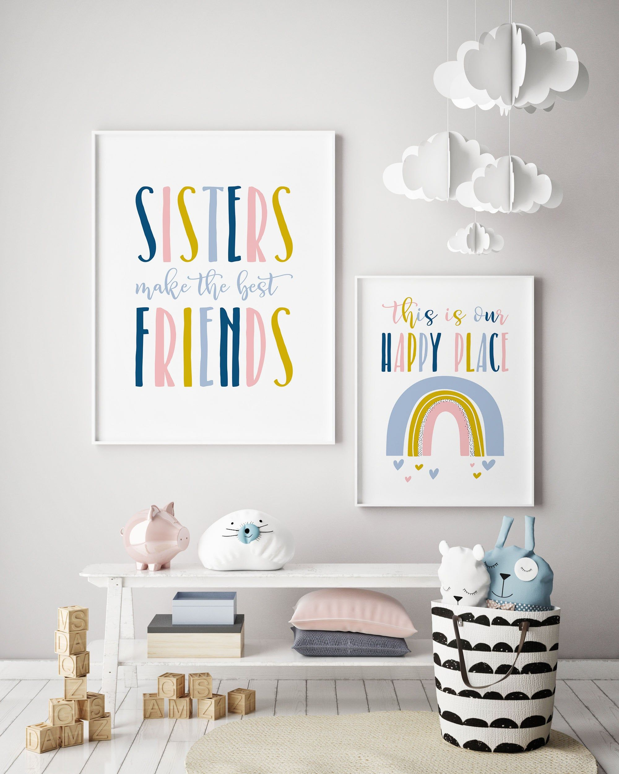 Set Of 2 Prints Download Girls Room Decor Sisters Wall Art Sisters Wall Quote Playroom Printables Kids Room Decor Rainbow Printables Shared Girls Room Girls Room Wall Decor Kids Room Wall