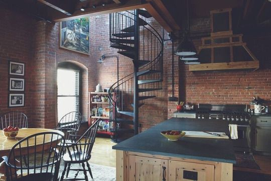 Converted Warehouse | Vintage Industrial Furniture | Kitchen Envy | Spiral  Staircase | Warehouse Home Design