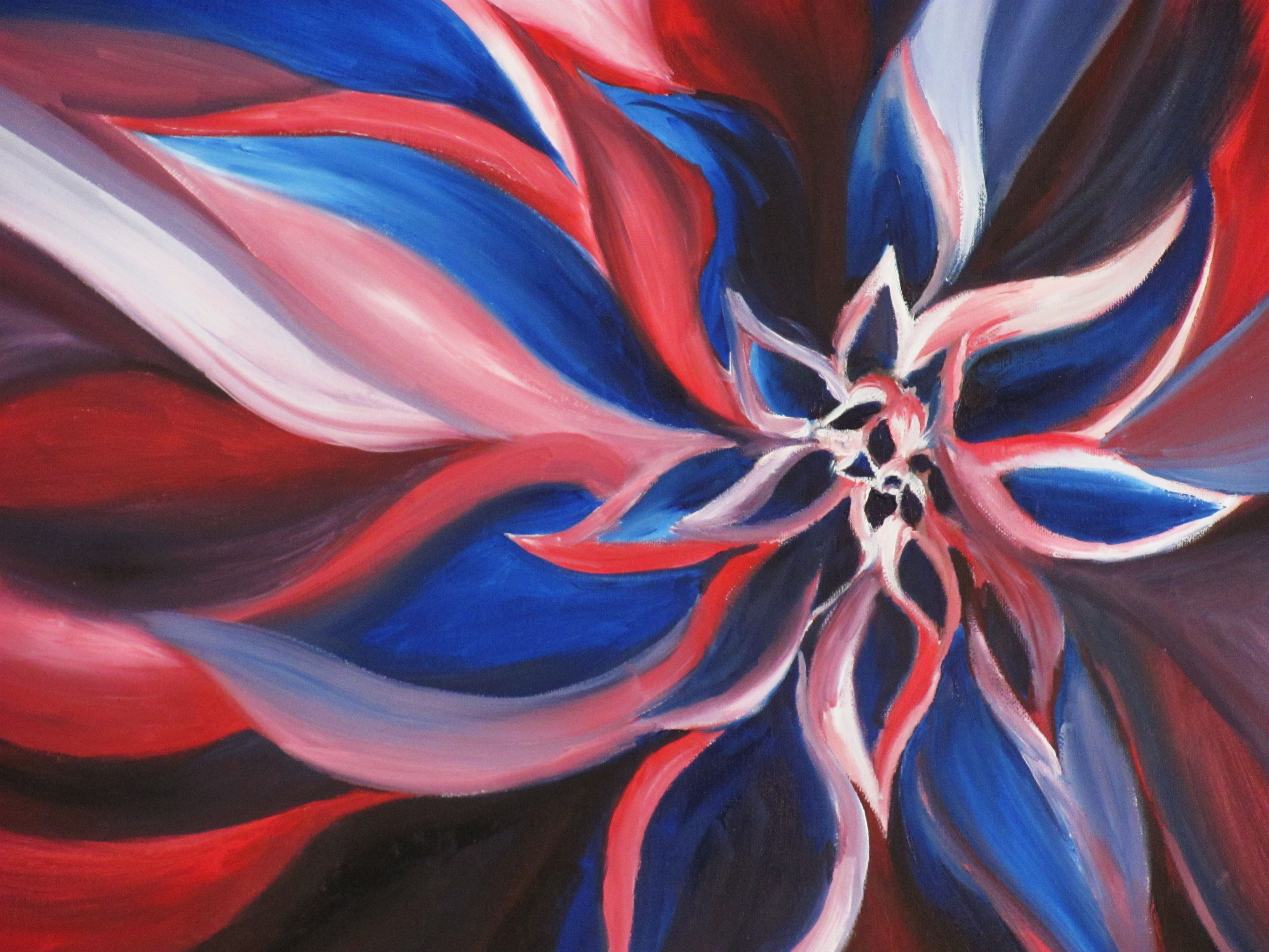 Oil Painting Of A Flower Only Used Red White And Blue Paint
