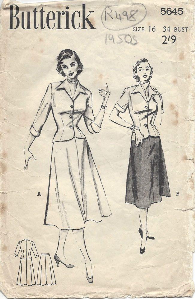 1950s Vintage Sewing Pattern B34 SUIT-JACKET & SKIRT/BLOUSE (R498 ...