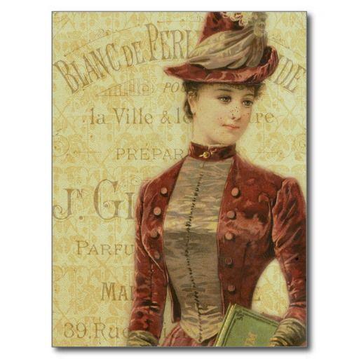 Vintage Lady Elegant forsats fransk Typografi postkort