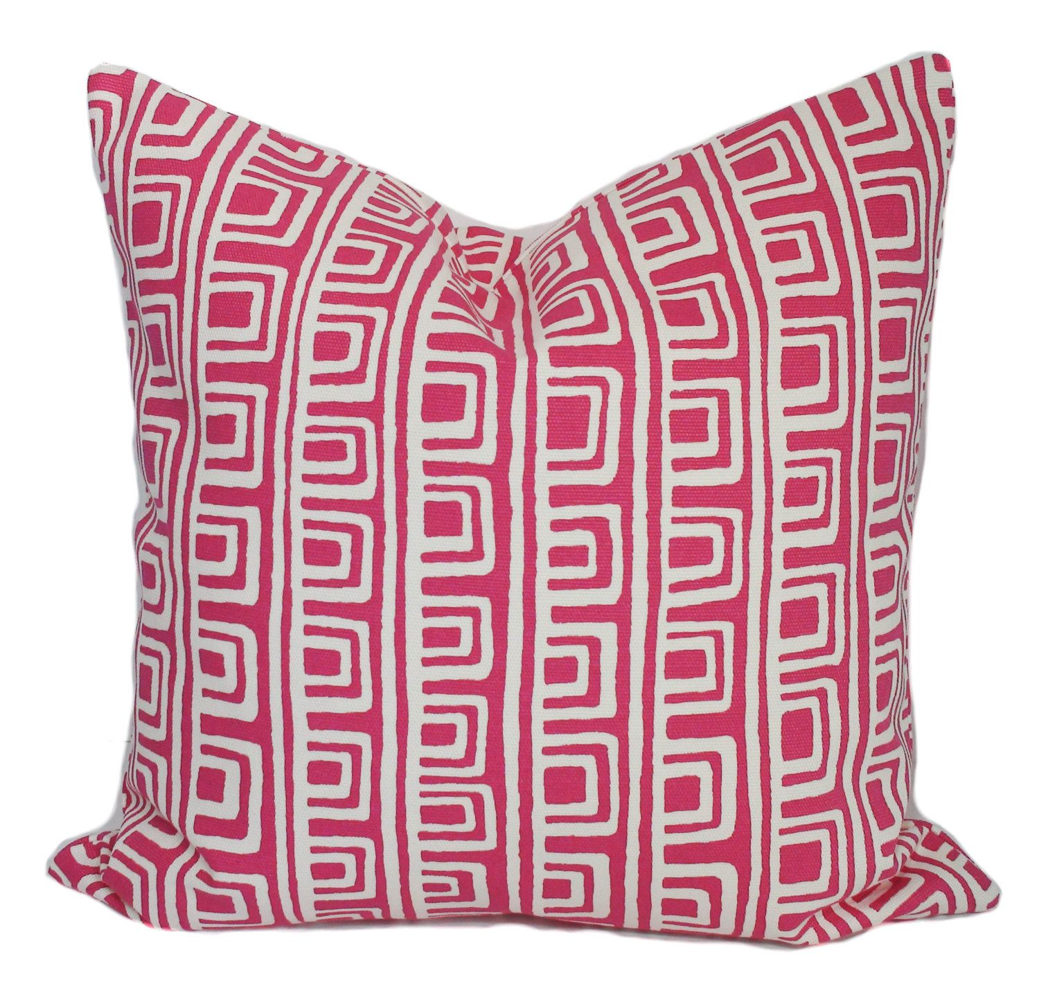 Pink white decorative throw pillow cover with zipper