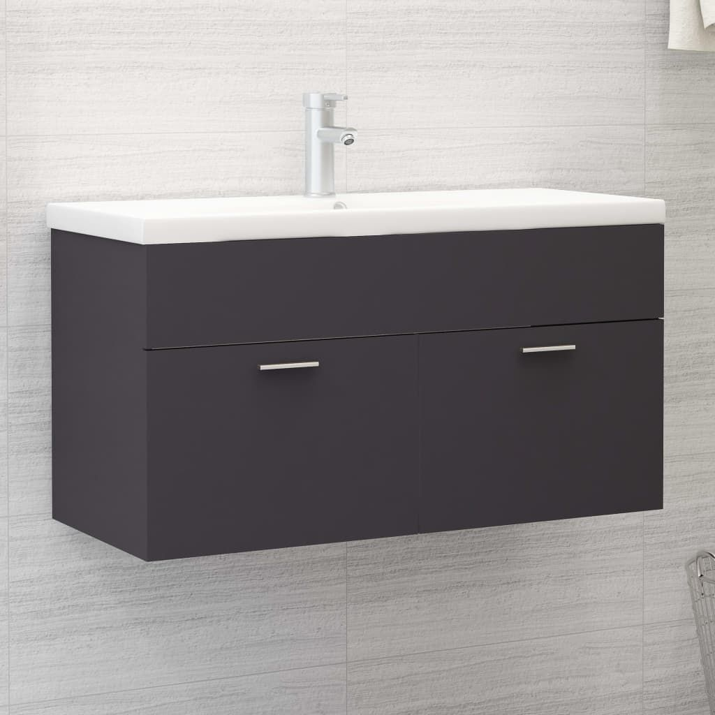 Sink Cabinet with Built-in Basin Grey Chipboard