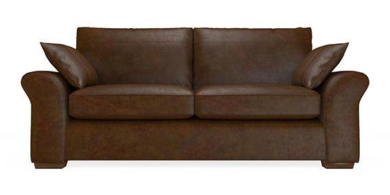 Buy Garda Leather Large Sofa (3 Seats) Bolivia Dark Brown Block - Standard   Next