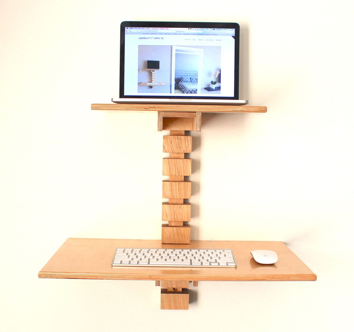 Wall mounted standing desk laptop wooden for saving spaces for Standing desk at home