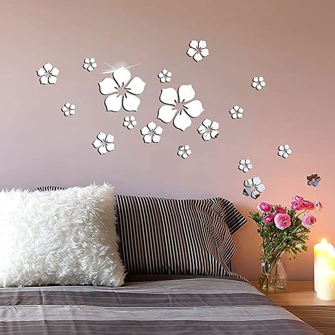 18pcs Mirror Tiles Wall Stickers Bedroom Decal Self-Adhesive DIY Home Art Decor