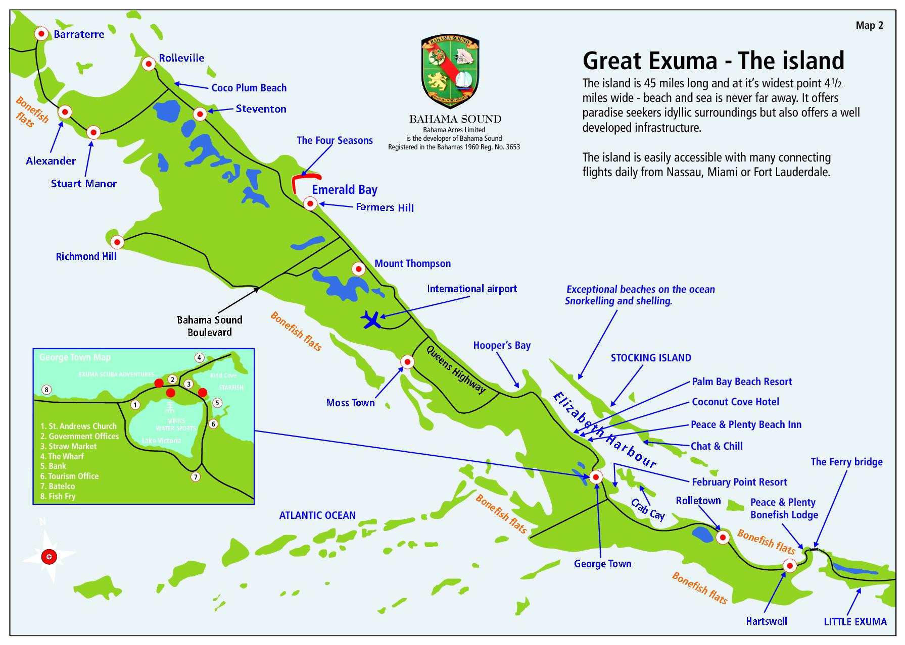 george town bahamas map Exuma Neighborhood Maps Bs Maps 02 Great Exuma The Island george town bahamas map