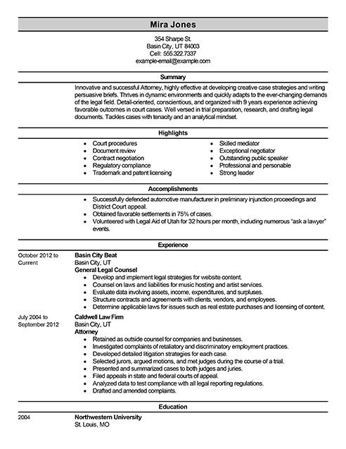 Best Lawyer Resume Example Livecareer Resume Examples Resume Writing Samples Job Resume Template