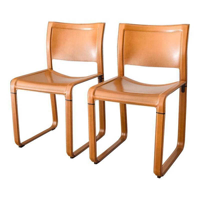 Matteo Grassi Sistina Strap Brown Leather Dining Chairs A Pair In 2020 Leather Dining Chairs Dining Chairs Chair